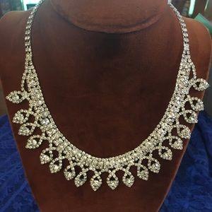 Cezanne Silver Rhinestone & Sapphire Necklace